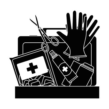 Medical kit with bandages and gloves vector illustration design