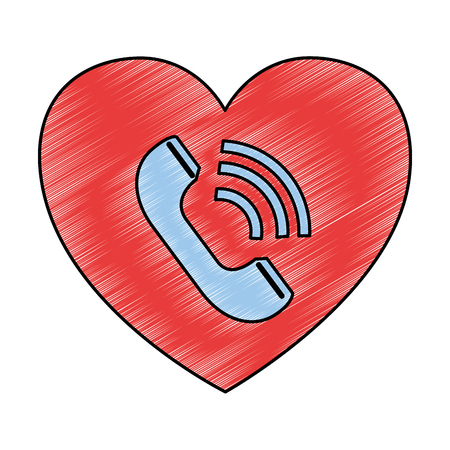 heart with telephone service vector illustration design