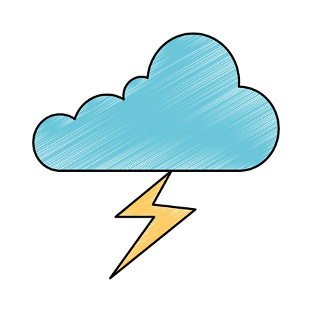 weather cloud rainy with ray vector illustration design Vectores