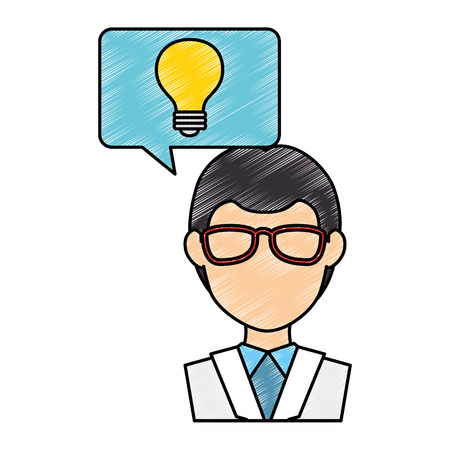 medical doctor with speech bubble and bulb vector illustration design