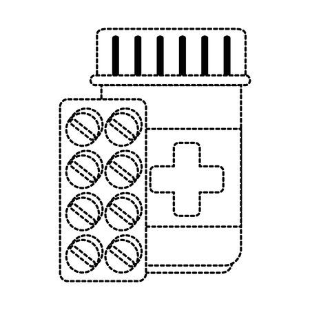 medicine bottle with pills vector illustration design Illustration