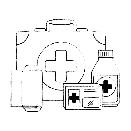 medical kit with bandages and drugs vector illustration design Imagens - 95223546