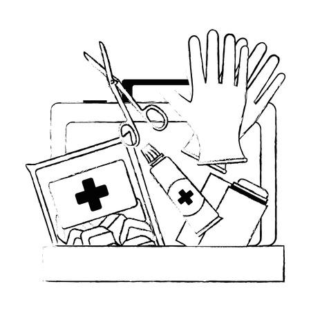 Medizinische Kit mit Bandagen und Handschuhen Vektor-Illustration Design Standard-Bild - 95223548