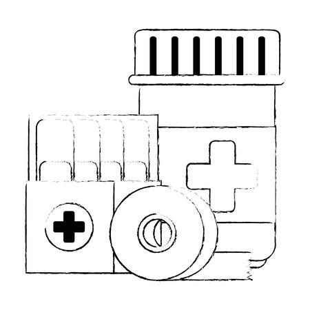 medicine bottle with bandages vector illustration design Illustration