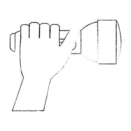 플래시 라이트 격리 아이콘 벡터 일러스트 디자인으로 손 일러스트