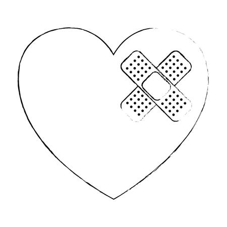 Coeur cardio avec bandage conception vecteur illustration Banque d'images - 95223574