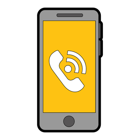 smartphone device with call service vector illustration design