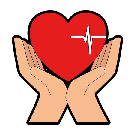 心臓カーディオ孤立アイコンベクトルイラストデザインと手