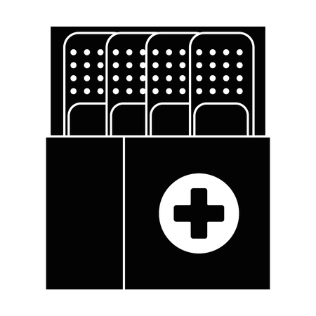 box packing with medicinal bandages isolated icon vector illustration design