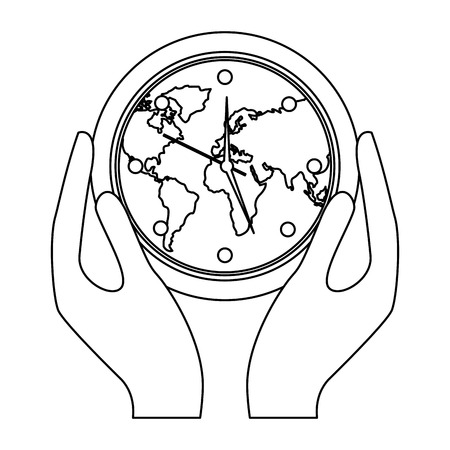 Hands holding clock with earth map inside environment safety vector illustration outline design