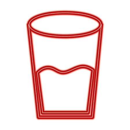Water glass health beverage liquid pure vector illustration red line design