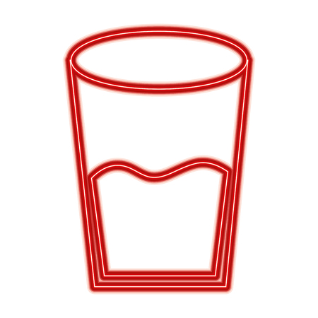 Water glass health beverage liquid pure vector illustration red line design