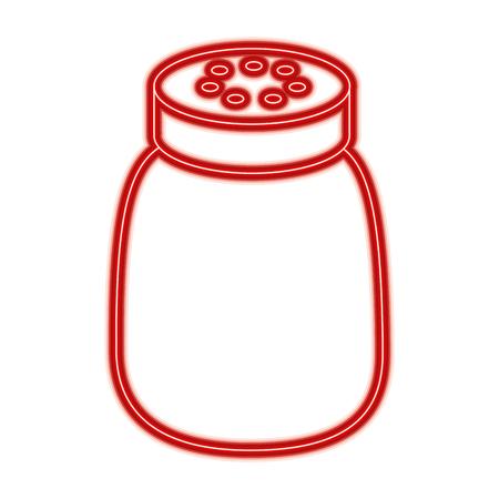 salt shaker seasoning for cooking condiment vector illustration red line design