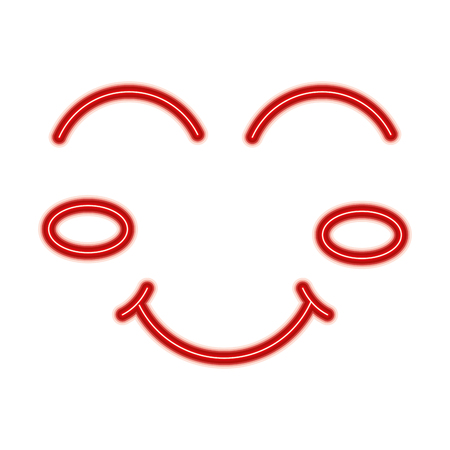 Cartoon funny face winking eyes happy vector illustration red line design Illusztráció