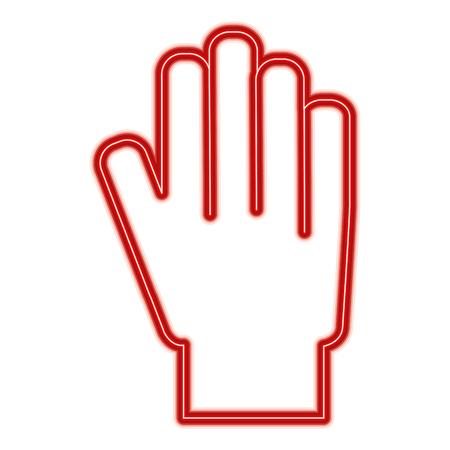 Hand showing five finger palm stop vector illustration red line design Illustration