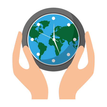 Hands holding clock with earth map inside environment safety vector illustration