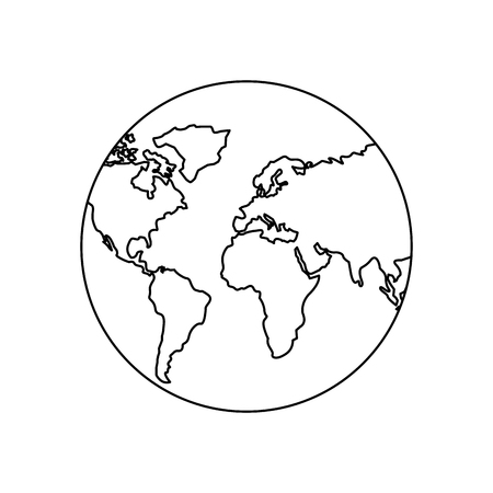 earth planet world globe map icon vector illustration outline design