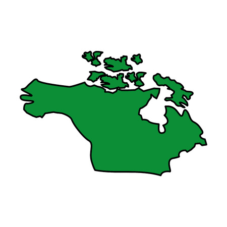 Map of north america country continent vector illustration green image Иллюстрация