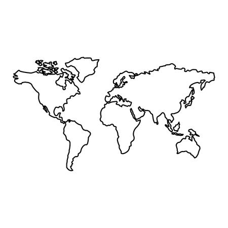 Mapa del mundo con diseño de esquema de ilustración de vector de continente de países