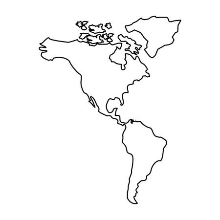 Ameryka Północna i Południowa Mapa kontynentu wektor ilustracja kontur projektu
