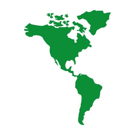 북과 남아메리카지도 대륙 벡터 일러스트 레이 션 녹색 이미지