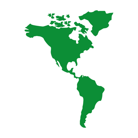 North and south america map continent vector illustration green image Illustration