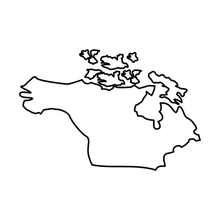 Map of north America country continent vector illustration outline design