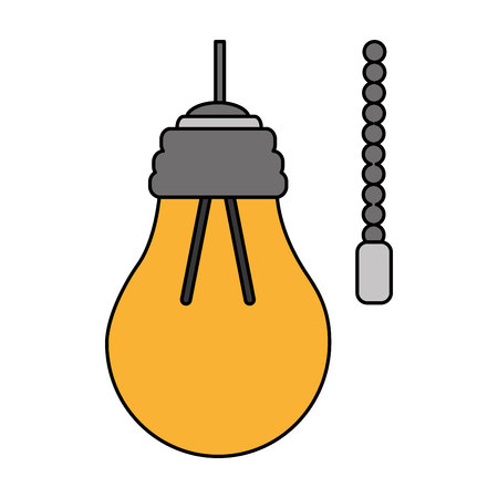 hanging lamp with light bulb with chain electricity vector illustration
