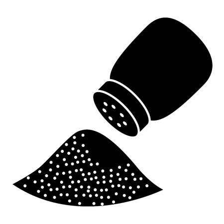 Salt shaker ingredient cooking food vector illustration black design Ilustração