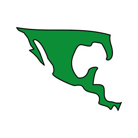 メキシコ国ベクトルイラスト緑画像のシルエットマップ  イラスト・ベクター素材