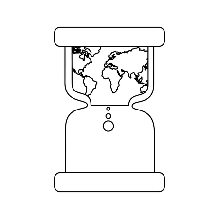 Hourglass with earth world time conservation warming vector illustration outline design Illustration