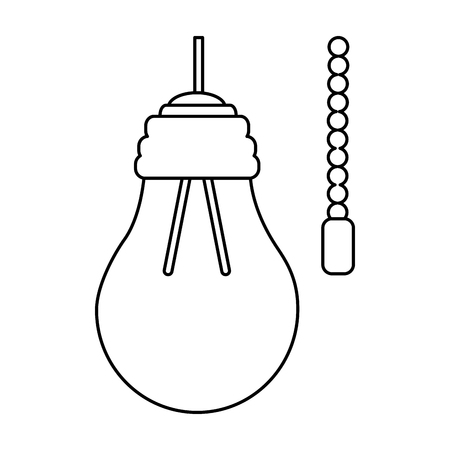 Hanging lamp with light bulb with chain electricity vector illustration outline design