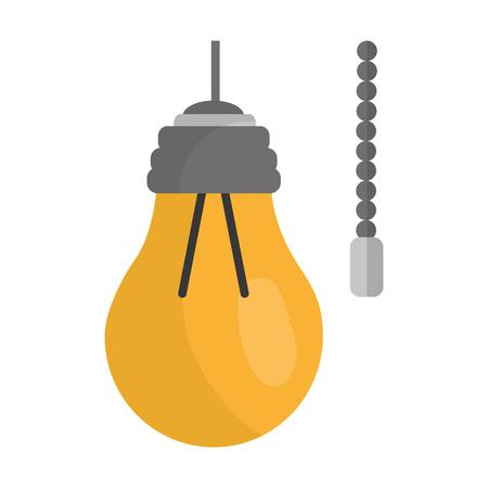 チェーン電気ベクトルイラスト付き電球付きハンギングランプ  イラスト・ベクター素材