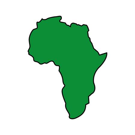 Mapa de la silueta del continente de África sobre un fondo blanco ilustración vectorial imagen verde