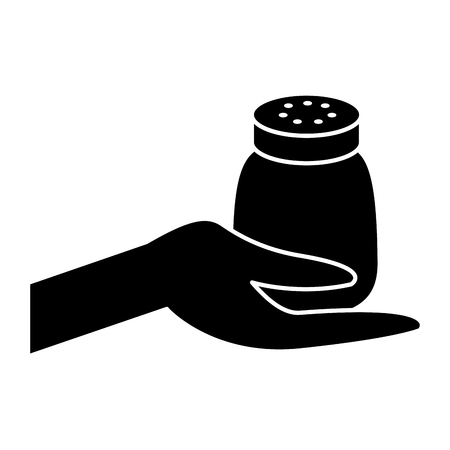 hand holding salt shaker condiment mineral vector illustration black design