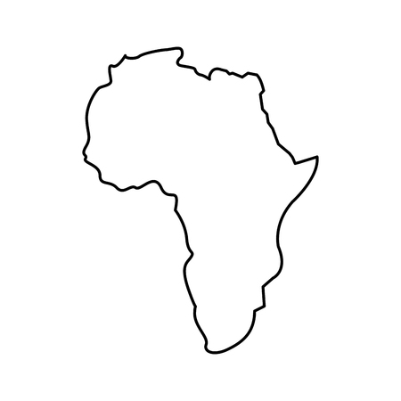 map of africa continent silhouette on a white background vector illustration outline design