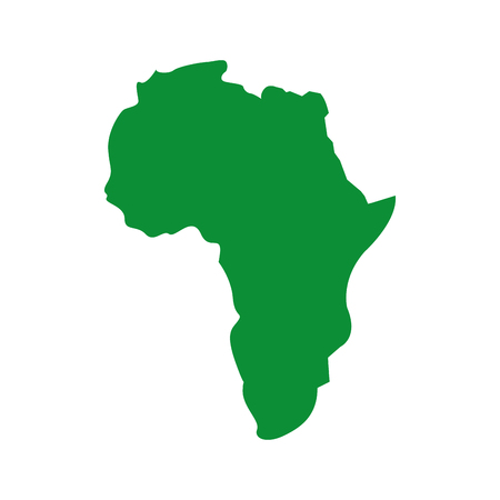 map of africa continent silhouette on a white background vector illustration green image Çizim
