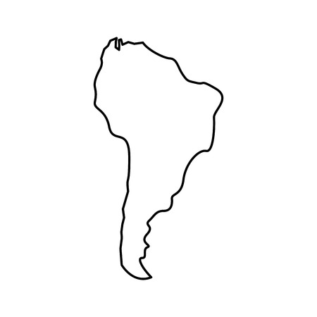silhouette south america map continent geography vector illustration outline design