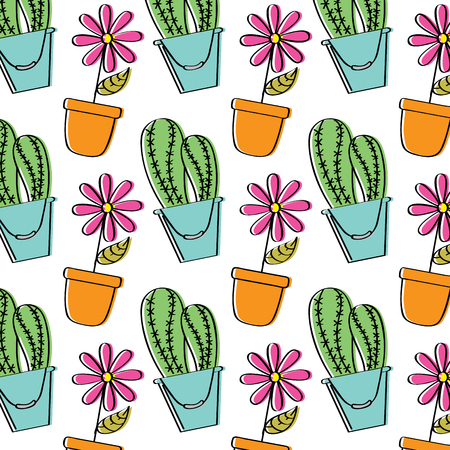decorative potted flower and cactus plant wallpaper vector illustration  イラスト・ベクター素材