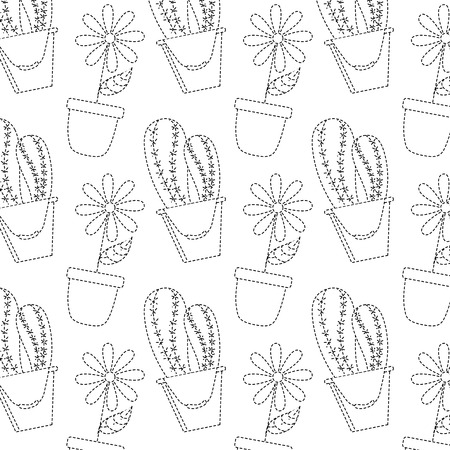 decorative potted flower and cactus plant wallpaper vector illustration Illustration