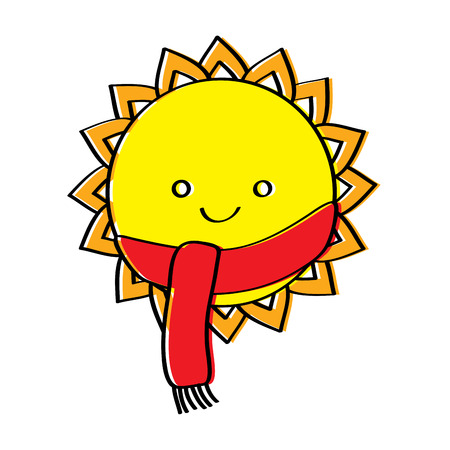 cute smiling sun cartoon character with scarf vector illustration Zdjęcie Seryjne - 95335985