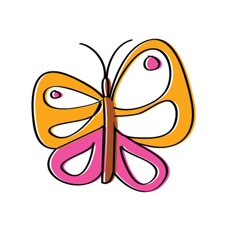 cute butterfly flying insect nature vector illustration