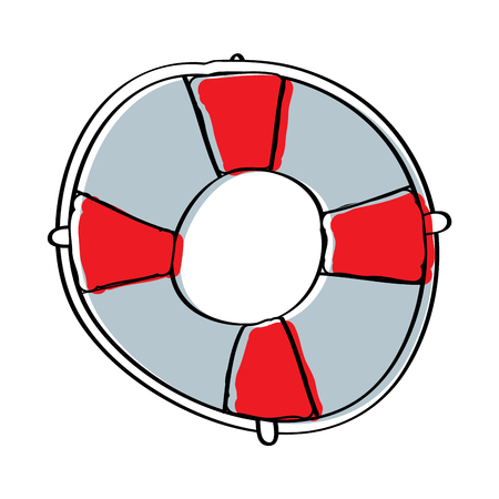 life buoy with rope assistance or help symbol vector illustration