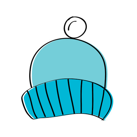 winter knitted hat with pompon accessory vector illustration