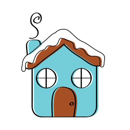 Haus Ingwer Brot Lebensmittel Weihnachten Winter Vektor-Illustration Standard-Bild - 95338961