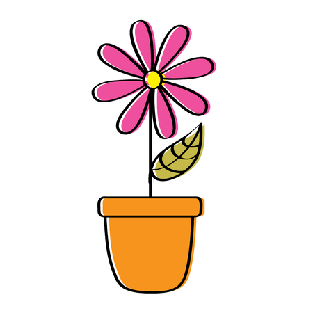 potted daisy flower petal leaves decoration vector illustration