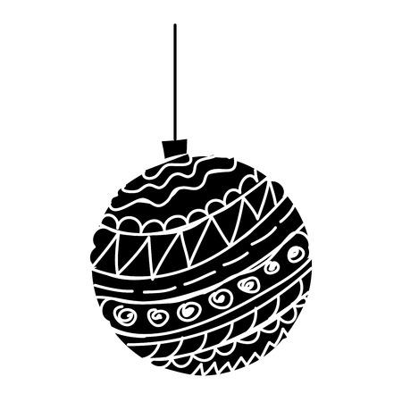 decorative christmas ball ornament icon vector illustration black and white design