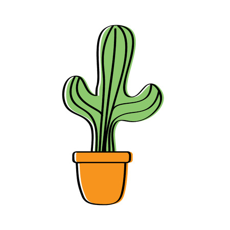 potted cactus house plant prickly decoration vector illustration Иллюстрация