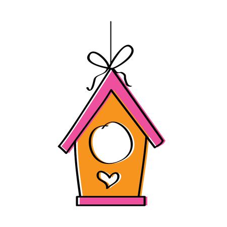 Bois bird house suspendu à partir d & # 39 ; une illustration vectorielle de corde Banque d'images - 95335688