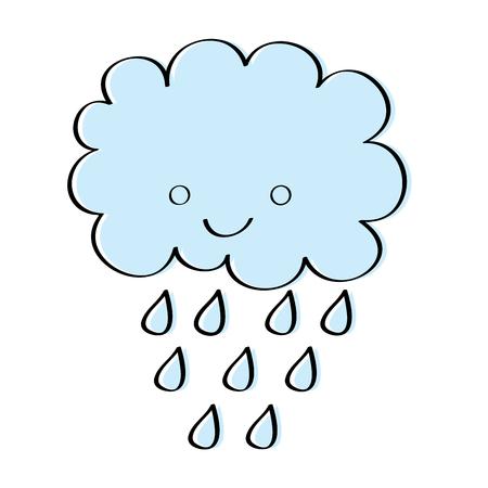 cute cartoon happy cloud rain drops vector illustration